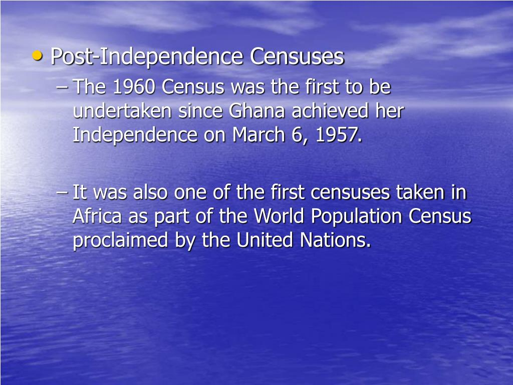 Post-Independence Censuses
