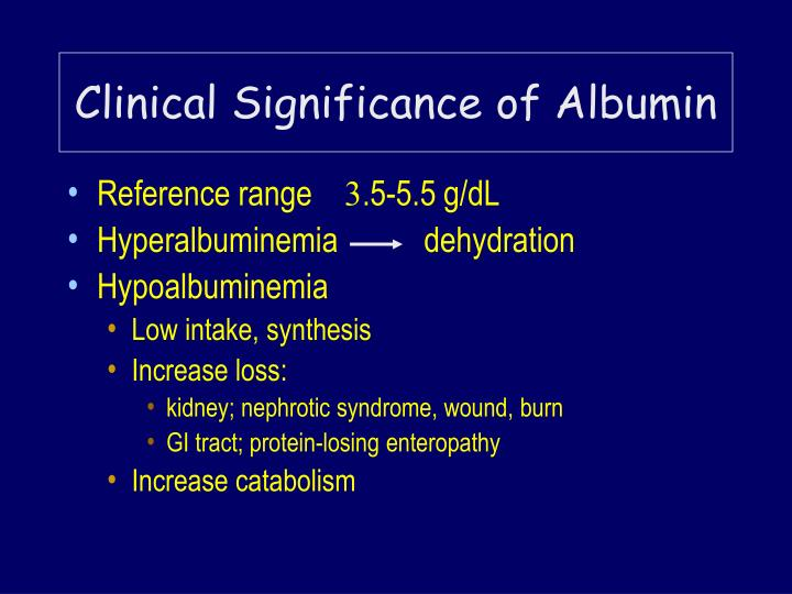 Clinical Significance of Albumin