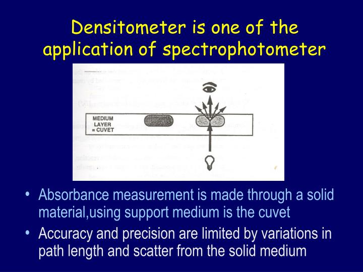 Densitometer is one of the application of spectrophotometer