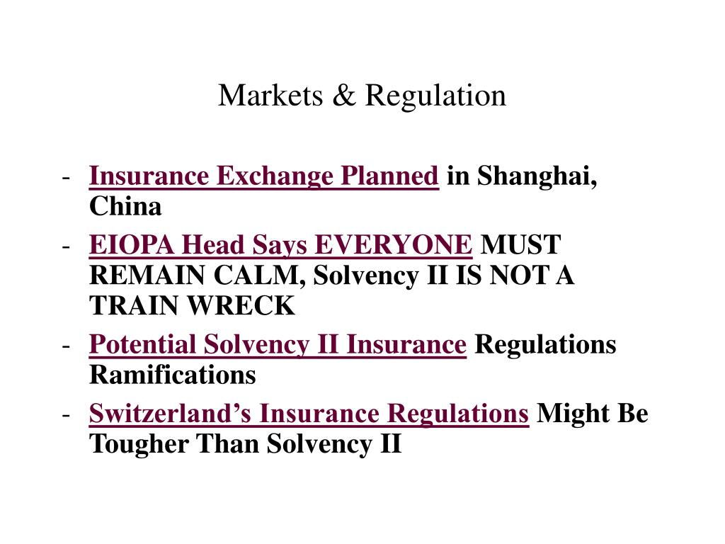 Markets & Regulation