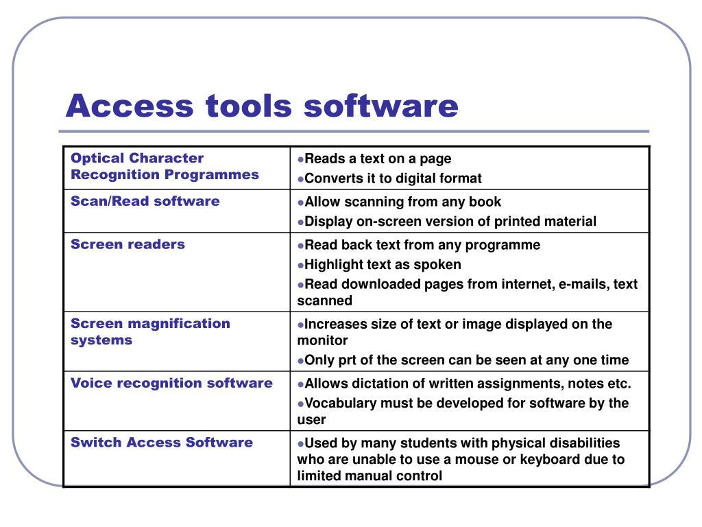 Access tools software