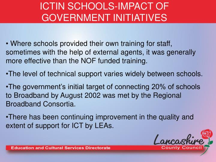 ICTIN SCHOOLS-IMPACT OF GOVERNMENT INITIATIVES