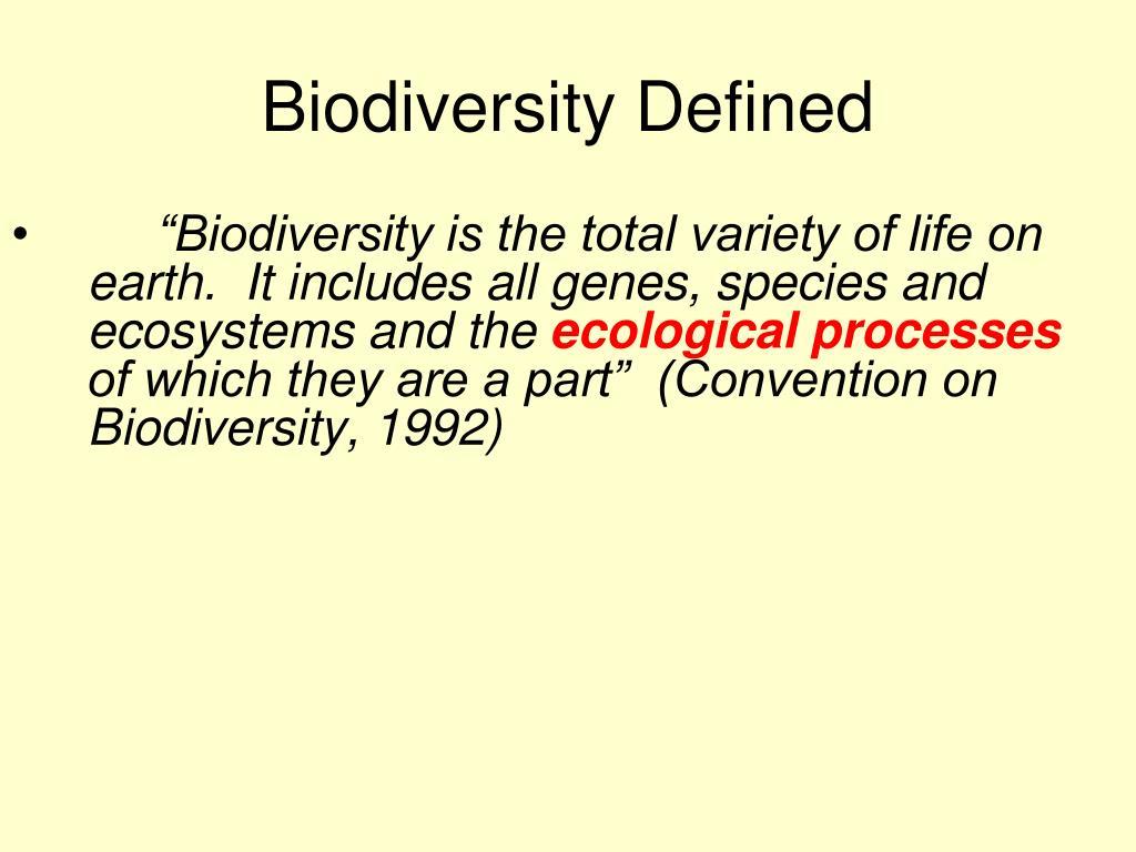 Biodiversity Defined