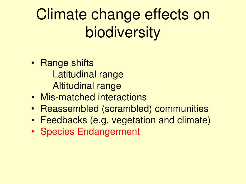 Climate change effects on biodiversity