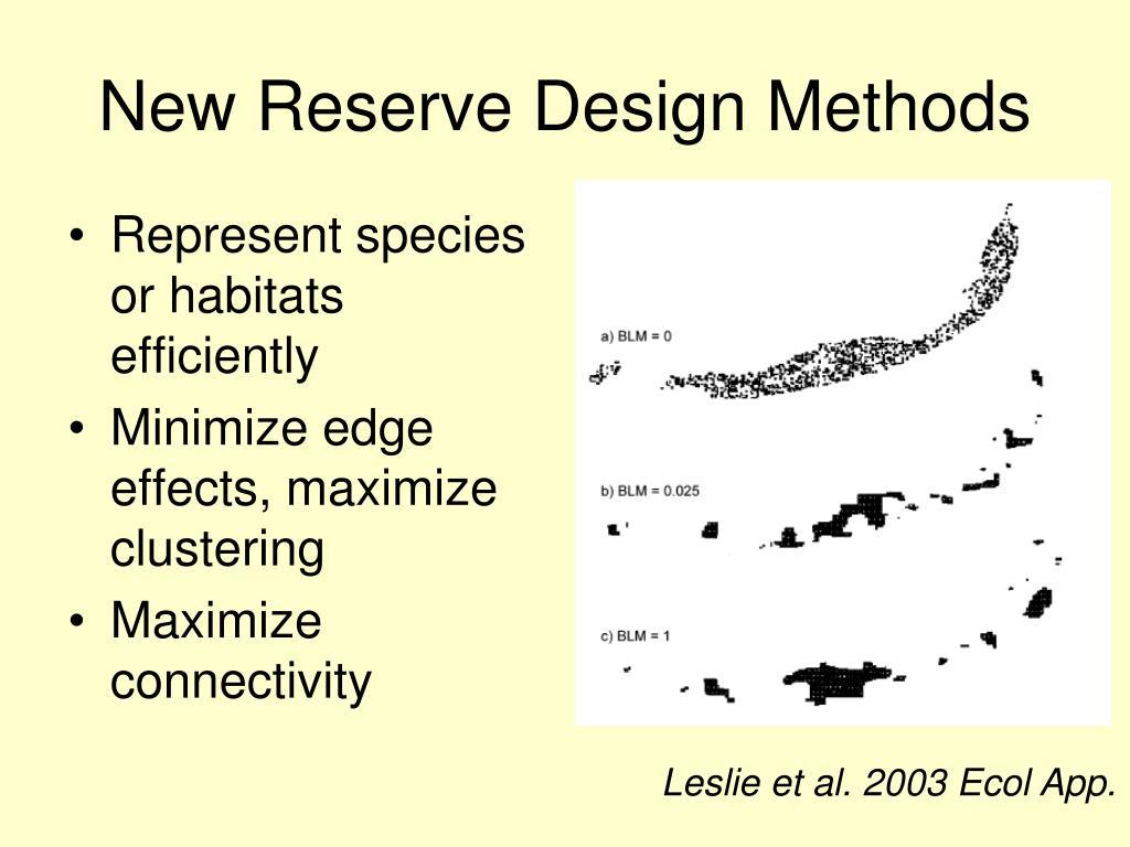 New Reserve Design Methods