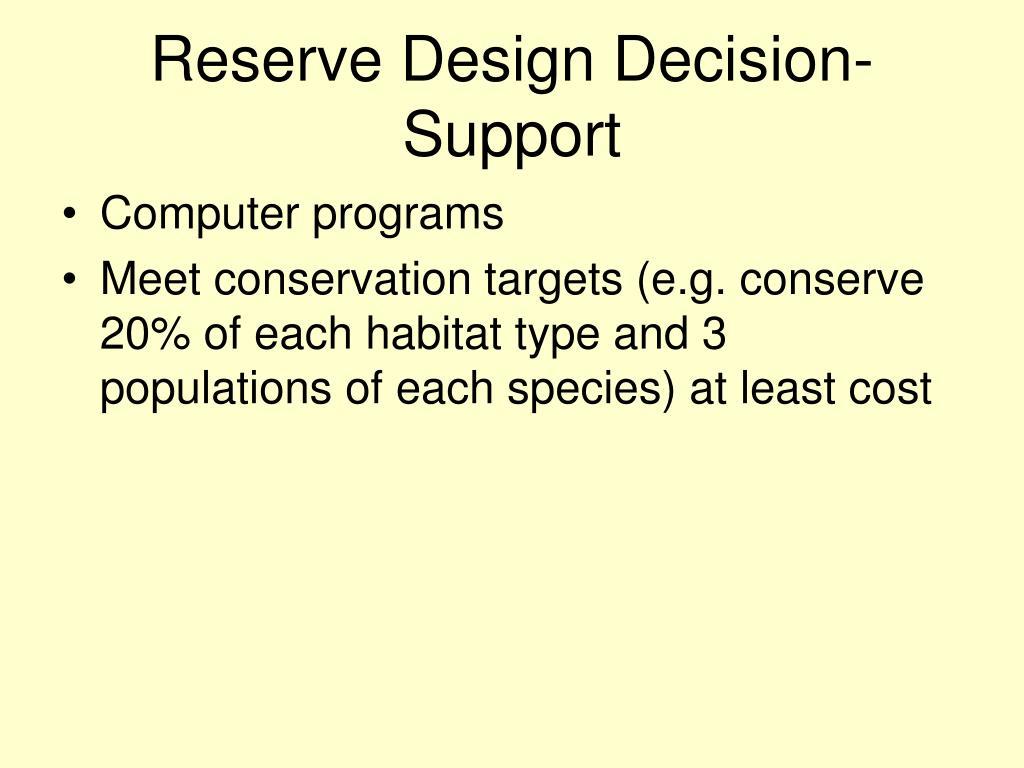 Reserve Design Decision-Support