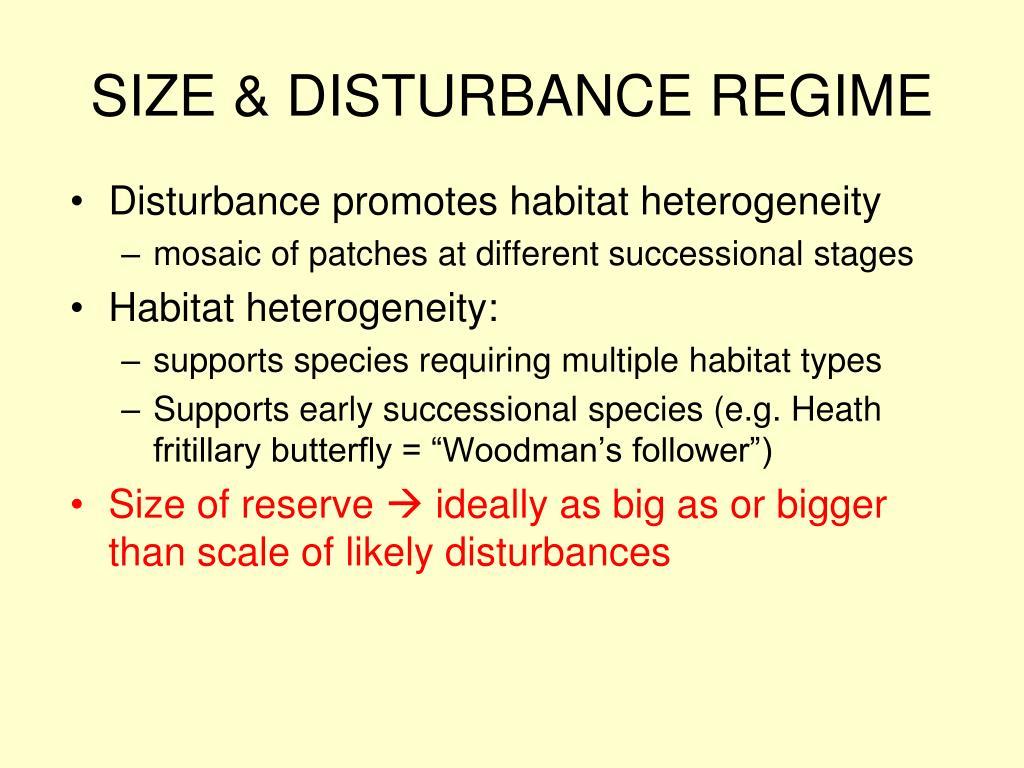 SIZE & DISTURBANCE REGIME