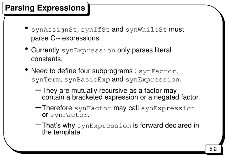 Parsing expressions