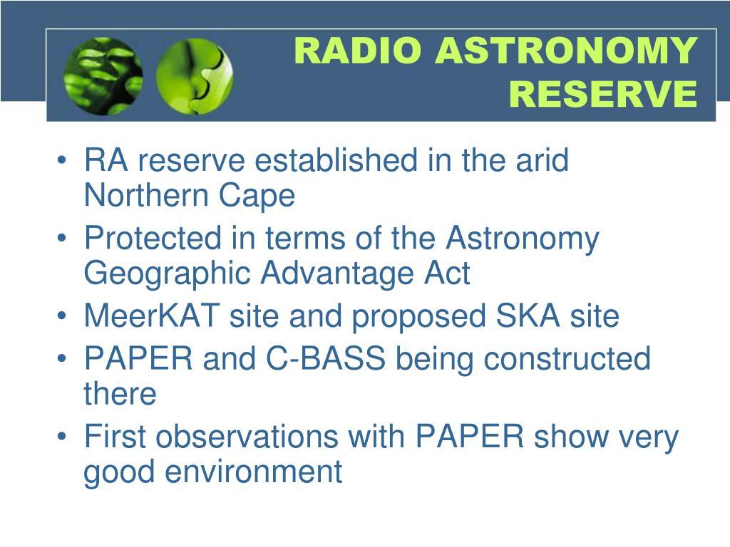 RADIO ASTRONOMY RESERVE