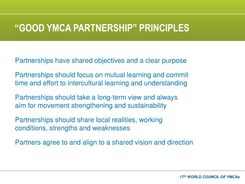 """GOOD YMCA PARTNERSHIP"" PRINCIPLES"