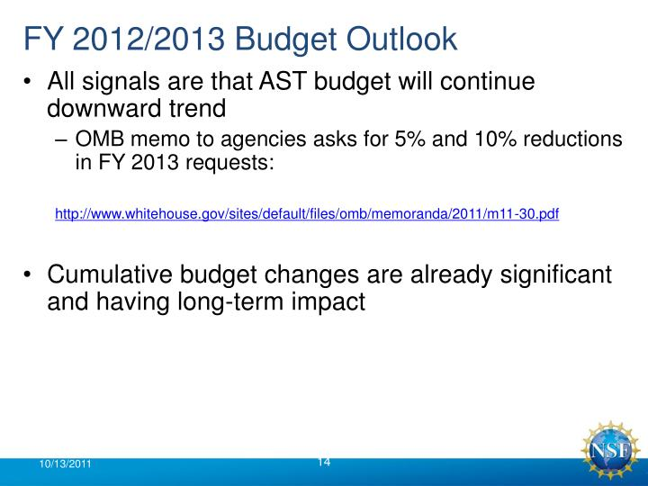 FY 2012/2013 Budget Outlook