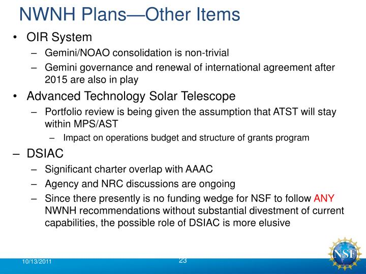 NWNH Plans—Other Items