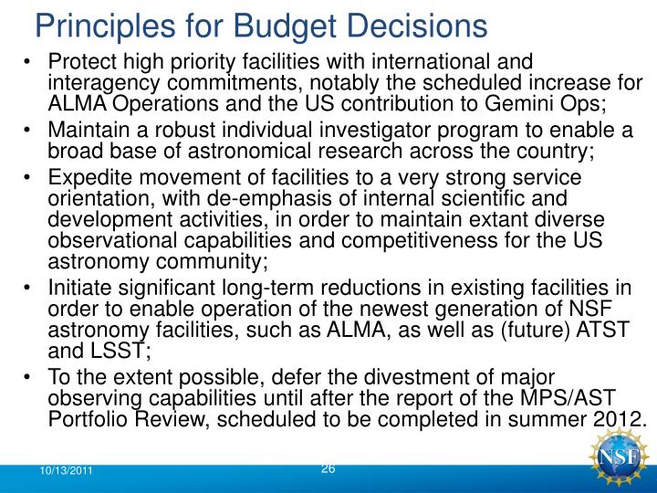Principles for Budget Decisions
