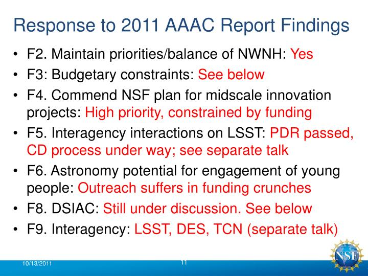 Response to 2011 AAAC Report Findings
