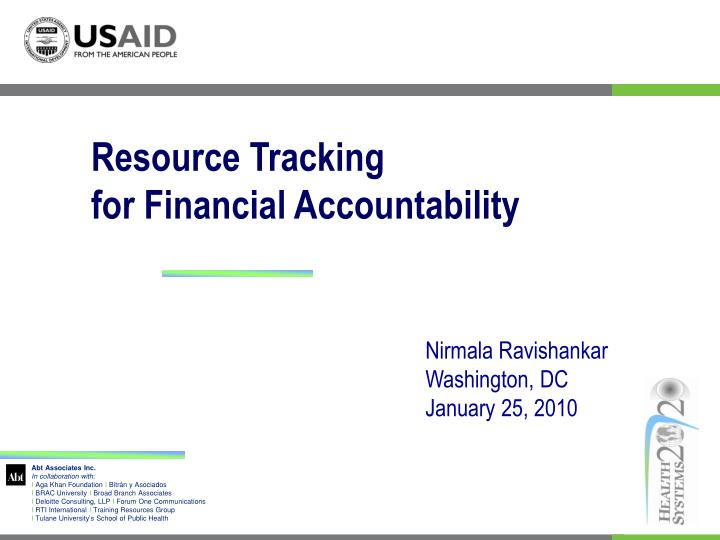 Resource tracking for financial accountability