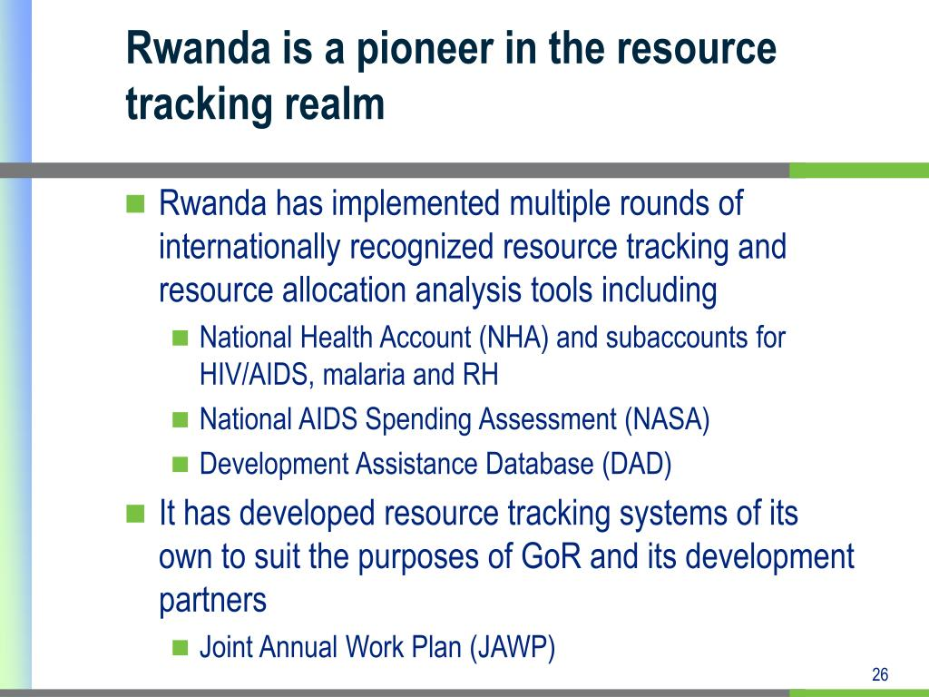 Rwanda is a pioneer in the resource tracking realm
