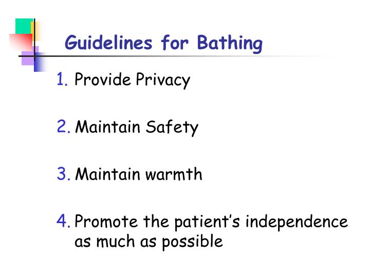 Guidelines for Bathing