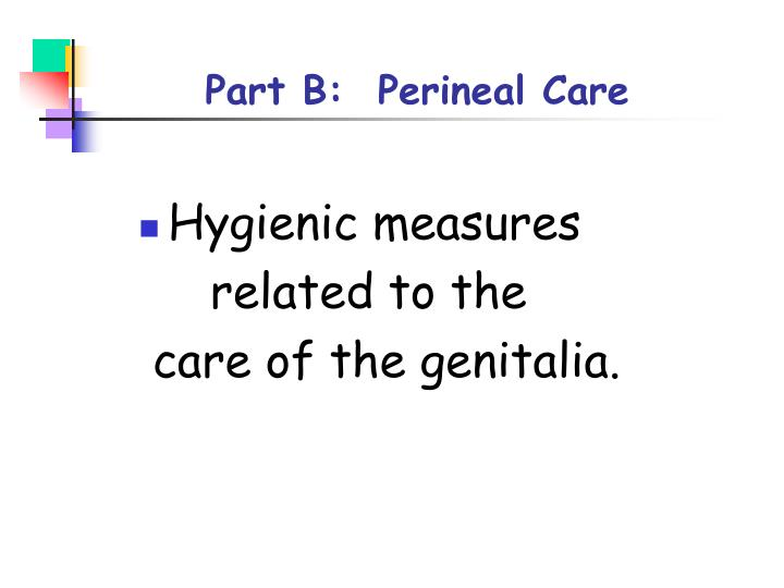 Part B:  Perineal Care