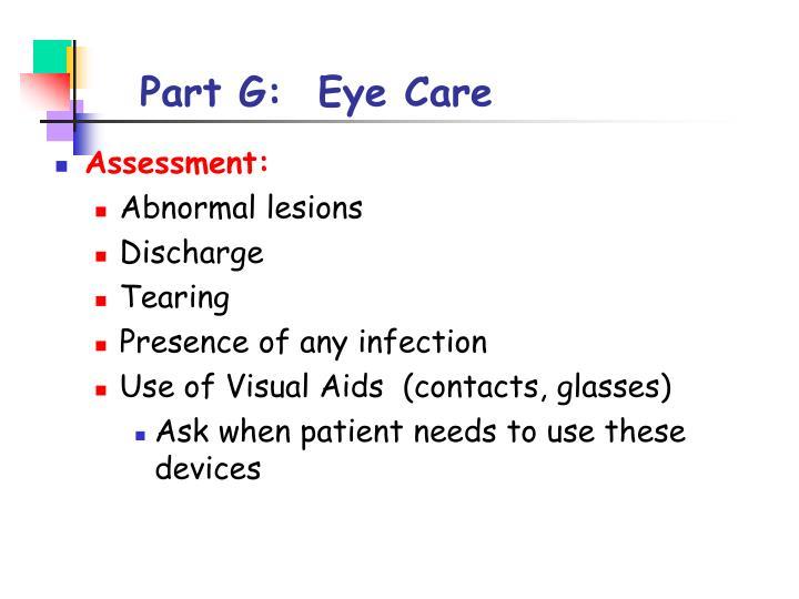 Part G:  Eye Care