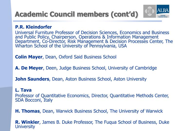 Academic Council members (cont'd)