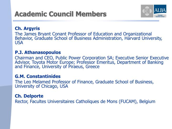 Academic Council Members