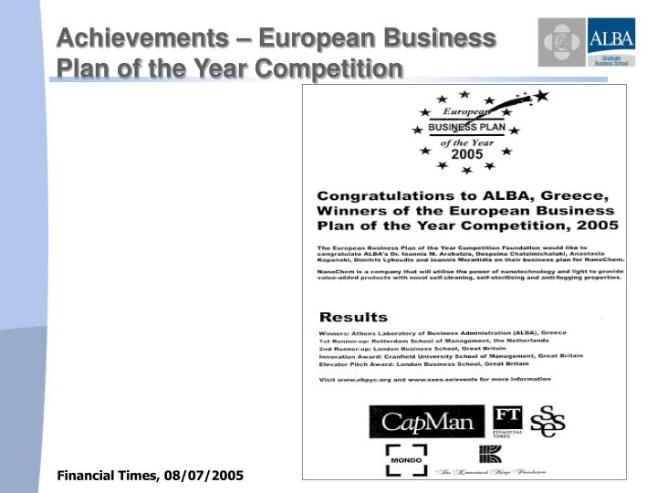 Achievements – European Business               Plan of the Year Competition