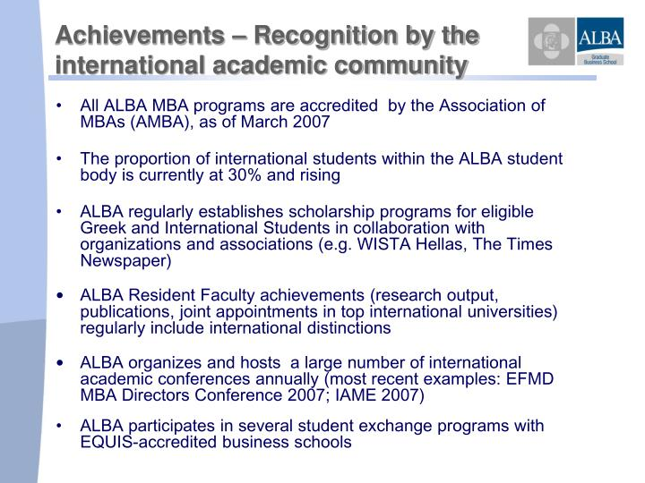 Achievements – Recognition by the
