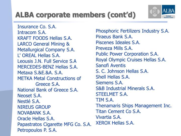 ALBA corporate members (cont'd)
