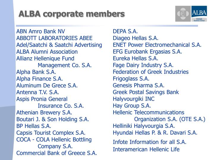 ALBA corporate members