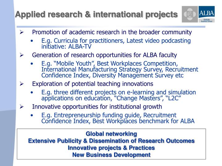 Applied research & international projects