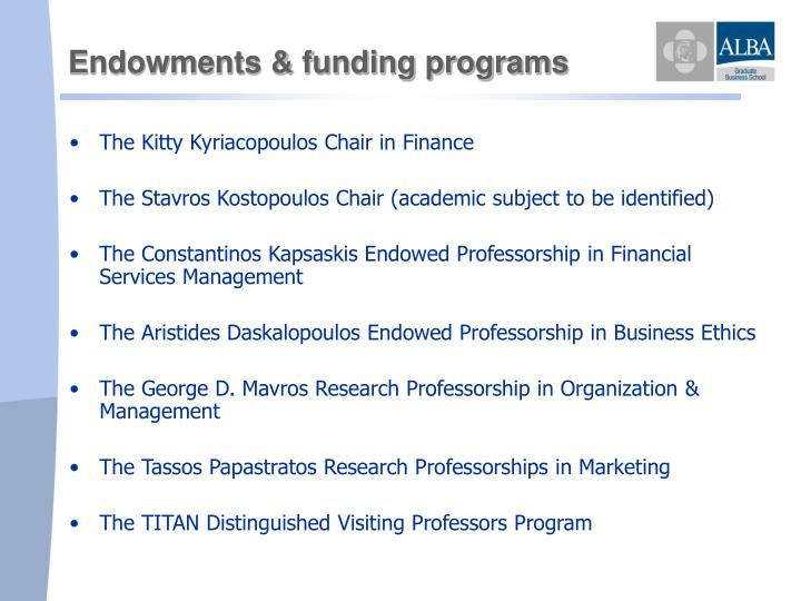 Endowments & funding programs