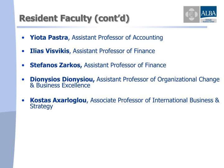 Resident Faculty (cont'd)