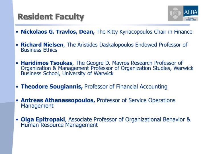Resident Faculty