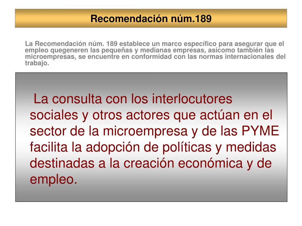 Recomendación núm.189