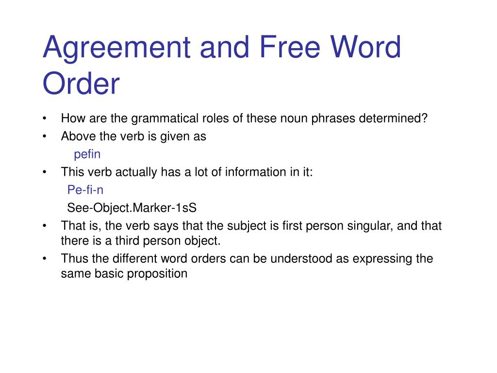 Agreement and Free Word Order