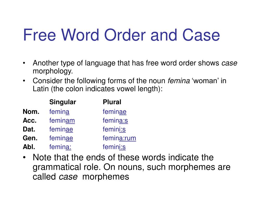 Free Word Order and Case