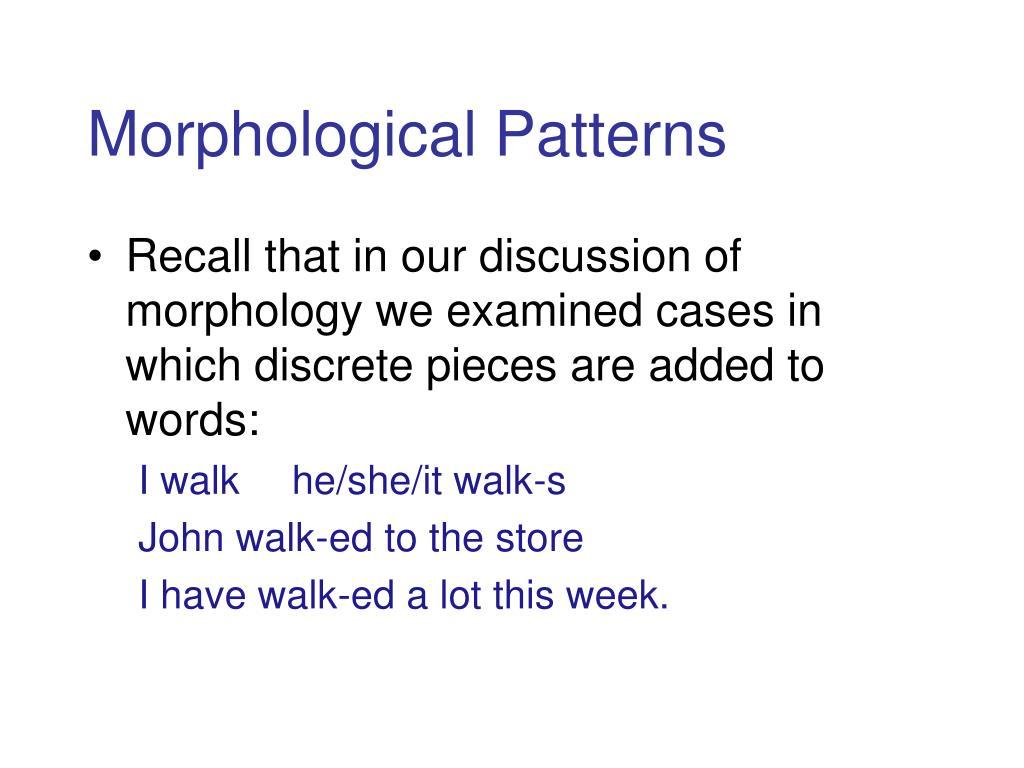 Morphological Patterns