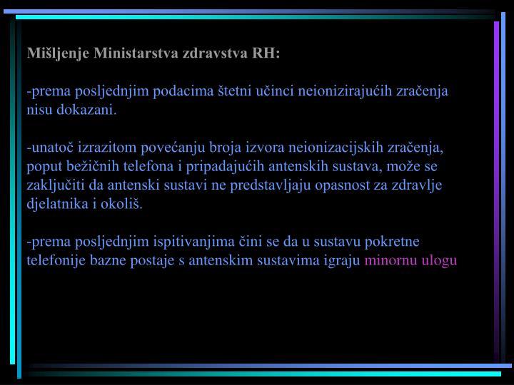 Mišljenje Ministarstva zdravstva RH: