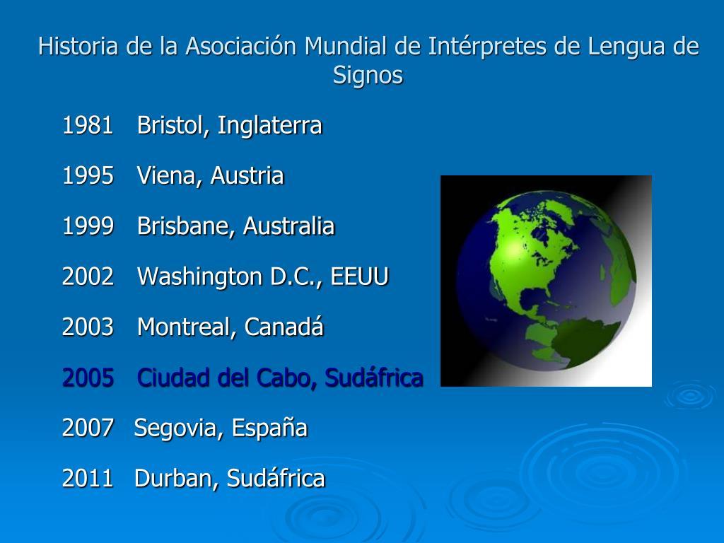 Historia de la Asociación Mundial de Intérpretes de Lengua de Signos