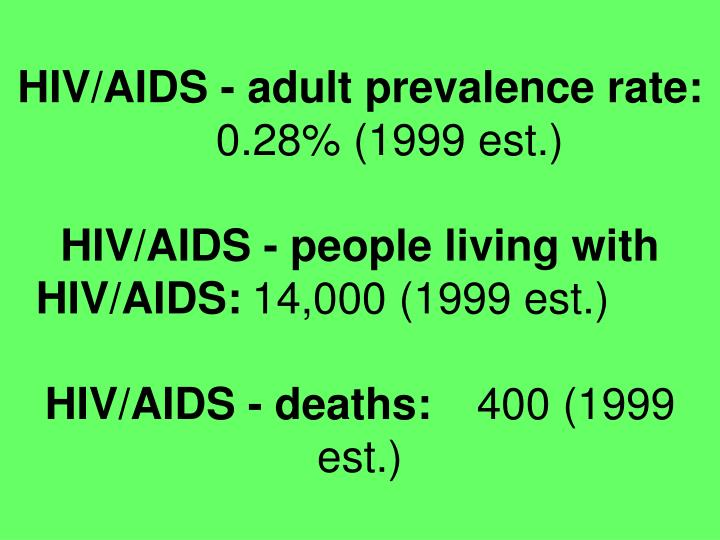 HIV/AIDS - adult prevalence rate: