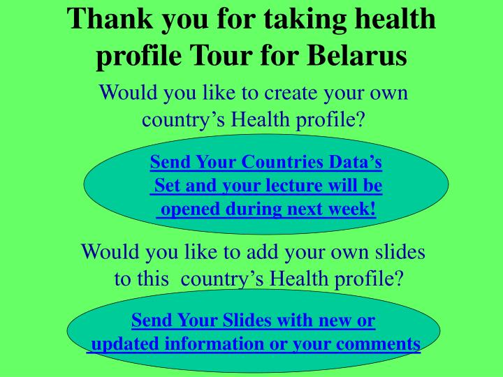 Thank you for taking health profile Tour for Belarus