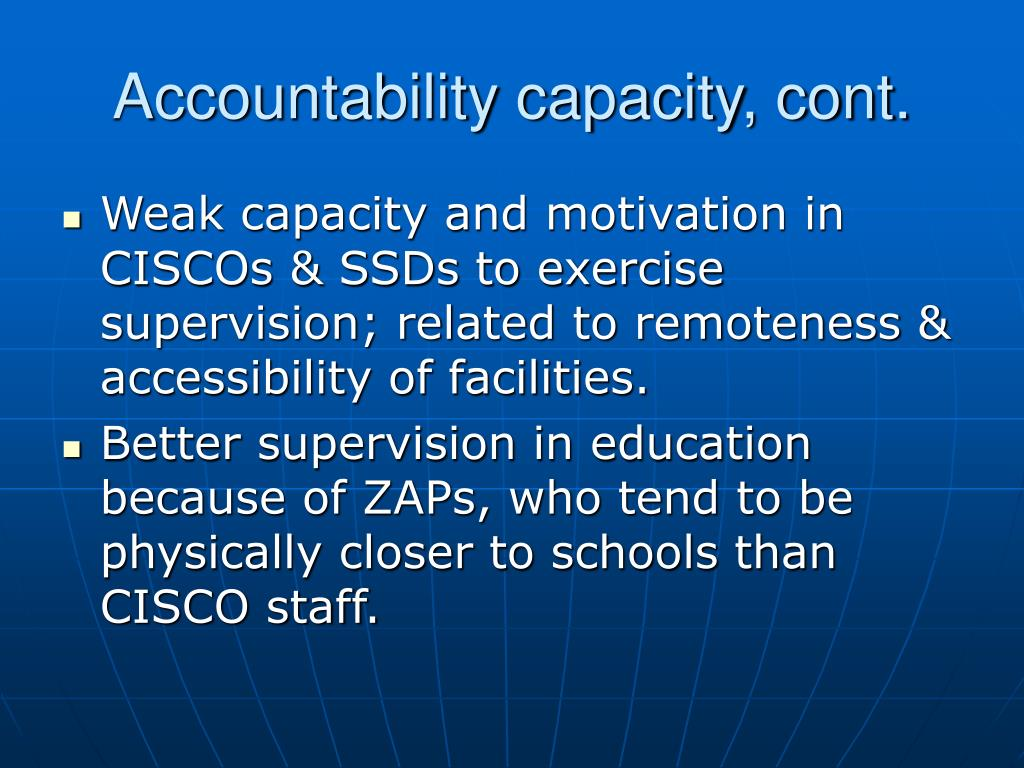 Accountability capacity, cont.
