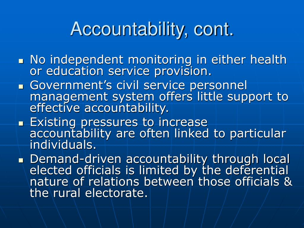 Accountability, cont.