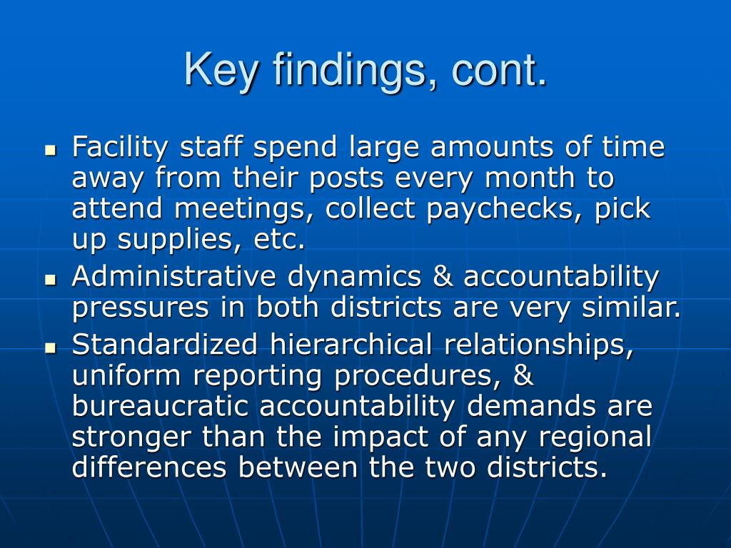 Key findings, cont.