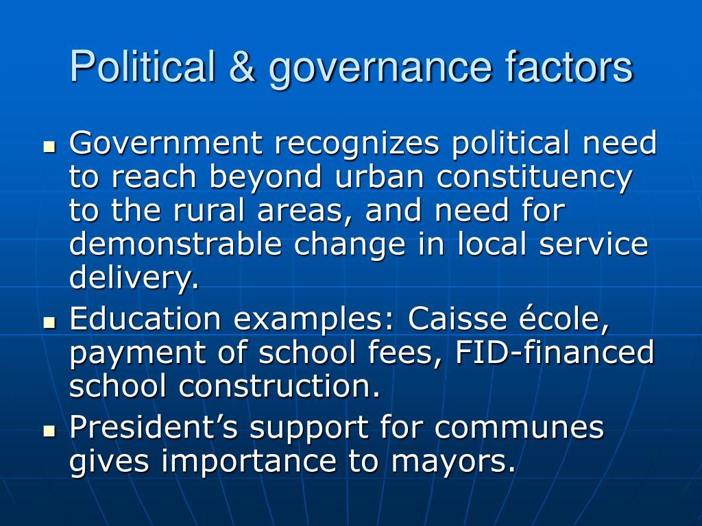 Political & governance factors