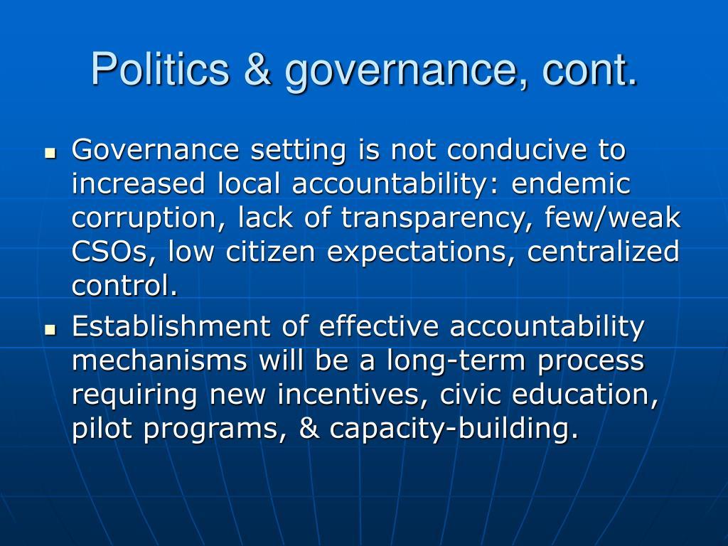 Politics & governance, cont.
