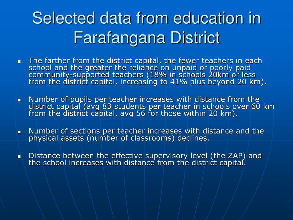 Selected data from education in Farafangana District