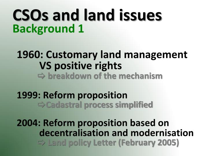 Csos and land issues