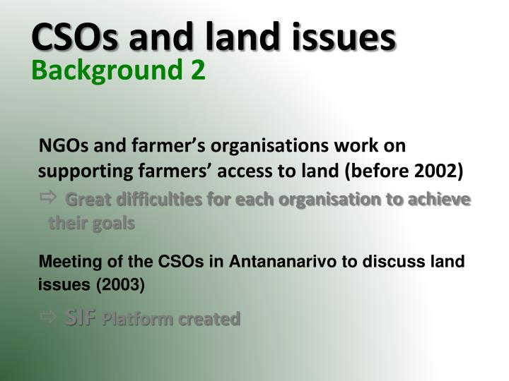 Csos and land issues3