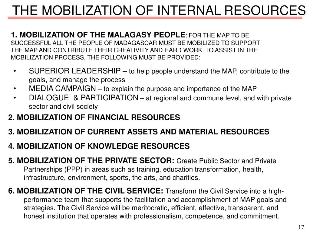 THE MOBILIZATION OF INTERNAL RESOURCES